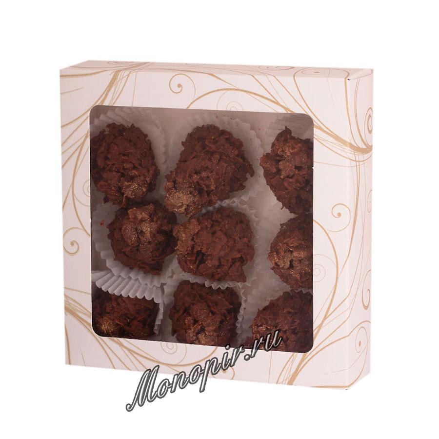 Бритарев кроканты с фундуком и вафельной крошки и золотой посыпки в белом шоколаде 150 гр