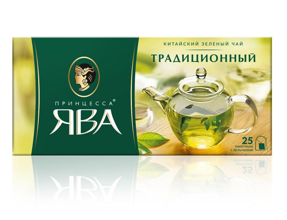 Чай Принцесса Ява Традиционный зеленый в пакетиках 25 шт