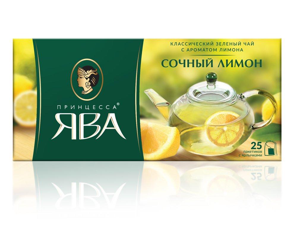 Чай Принцесса Ява Сочный Лимон в пакетиках зеленый 25 пак.