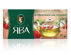 Чай Принцесса Ява Клубничное Настроение в пакетиках зеленый 25 пак.