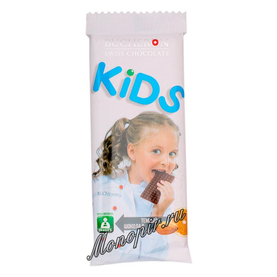 Шоколад Bucheron Kids темный с апельсином и миндалем 50 гр
