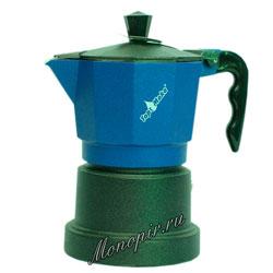 Гейзерная кофеварка Top Moka Caffettiera Top 3 порции (120 мл) синий teflon
