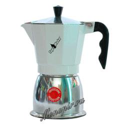 Гейзерная кофеварка Top Moka Caffettiera Top 6 порции (240 мл) белый teflon индукционный