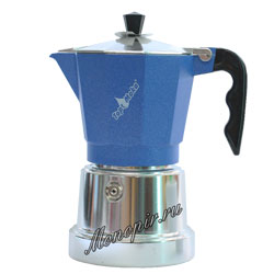 Гейзерная кофеварка Top Moka Caffettiera Top 6 порции (240 мл) голубой argento