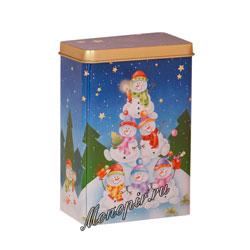 Банка Веселые Снеговики для хранения чая 100 гр