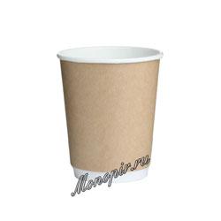 Стакан бумажный Thermo Cup двухслойный 250 мл Крафт